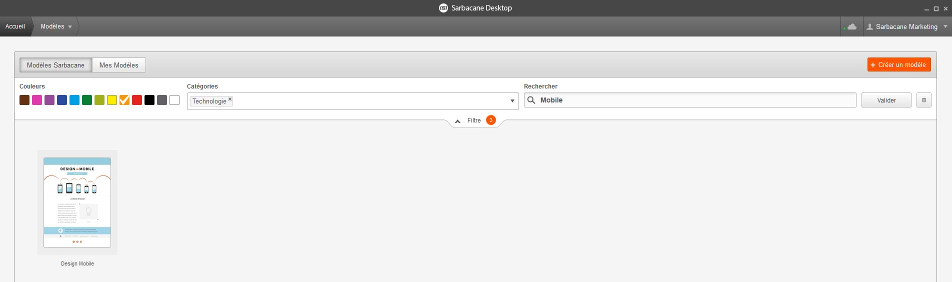 filtre templates emailing Sarbacane Desktop