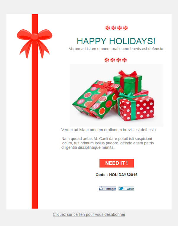 christmas gifts email template