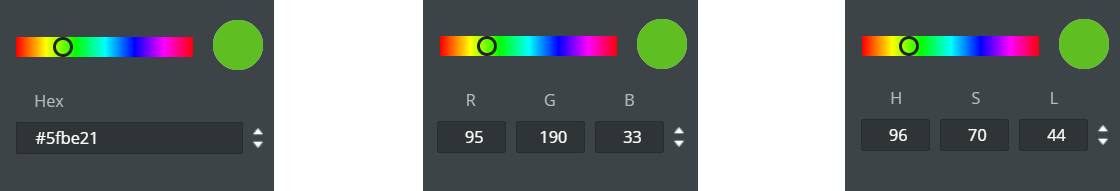 hexadecimal RGB HSL colors for emailing