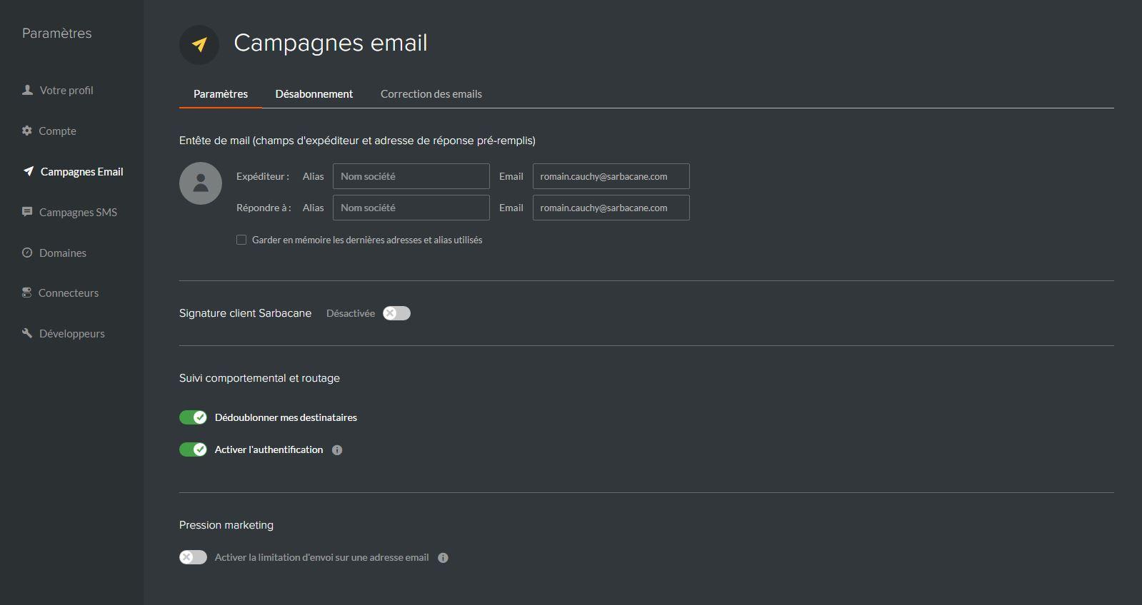 Paramètres des campagnes email
