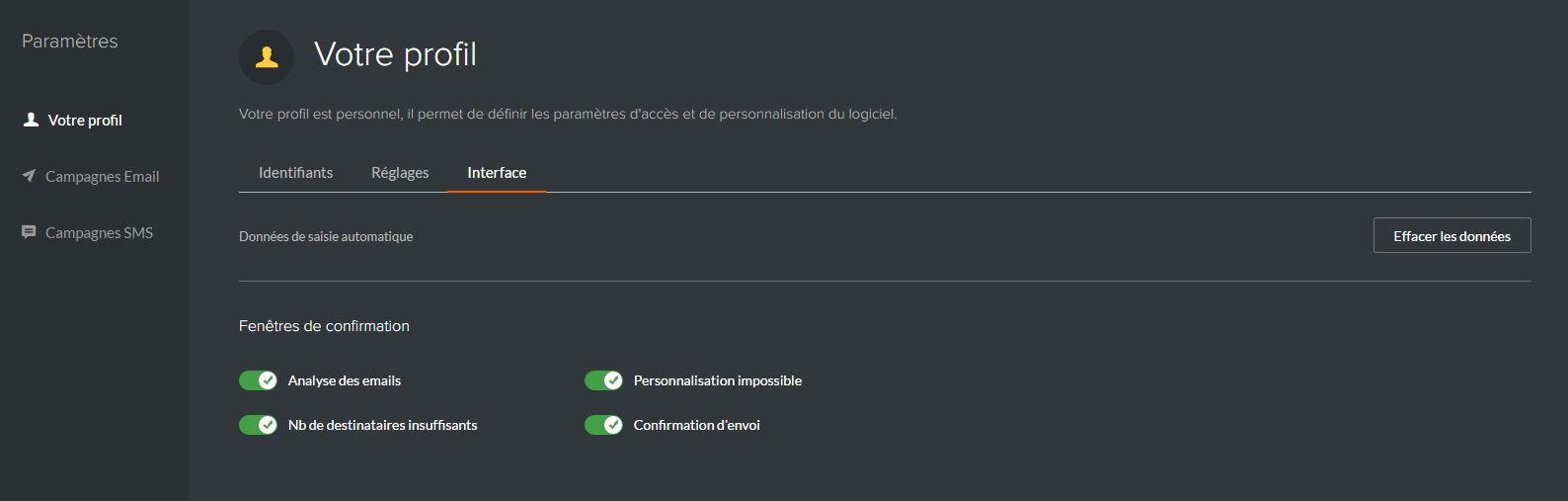 Paramètres de l'interface sur Sarbacane Sunrise