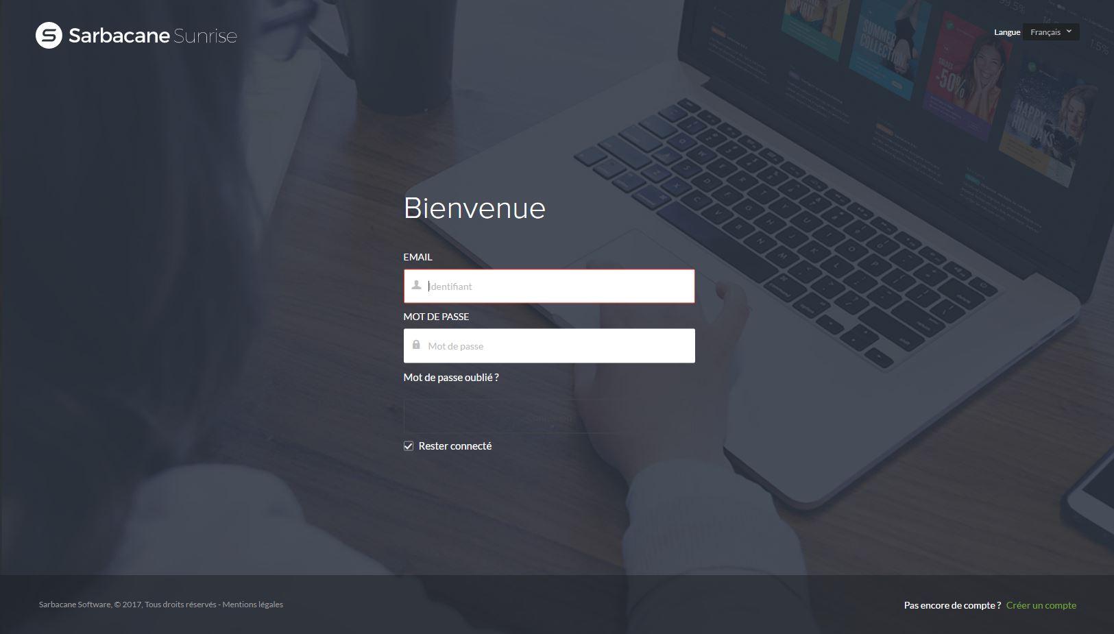 Connexion sur l'application web