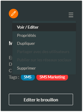 éditer une campagne SMS existante