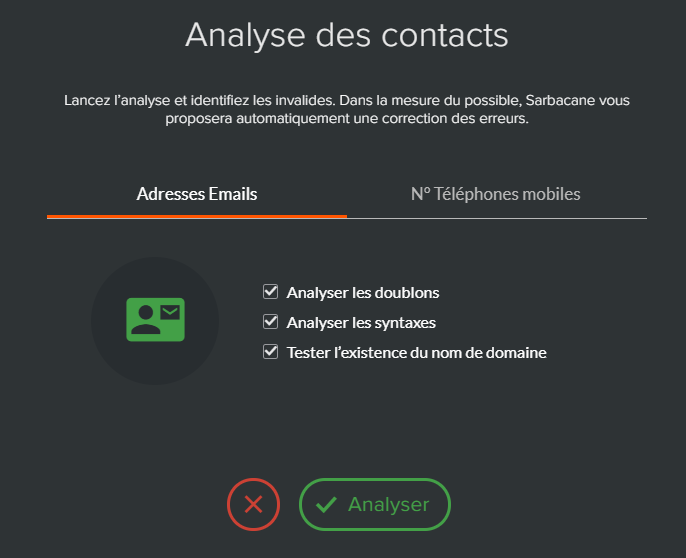 analyse et correction des adresses email