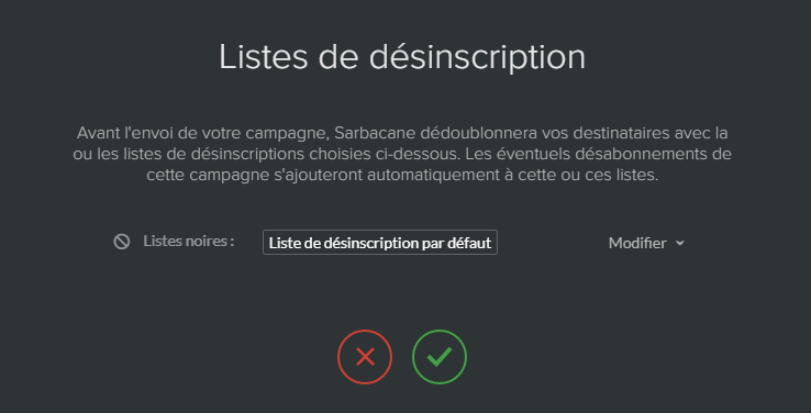 liste de désinscription