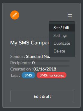 éditer une campagne SMS existante