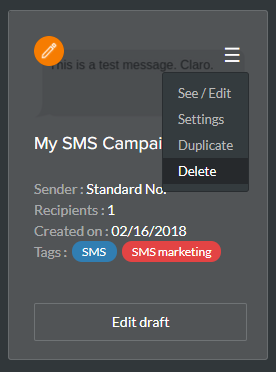 Supprimer une campagne SMS existante