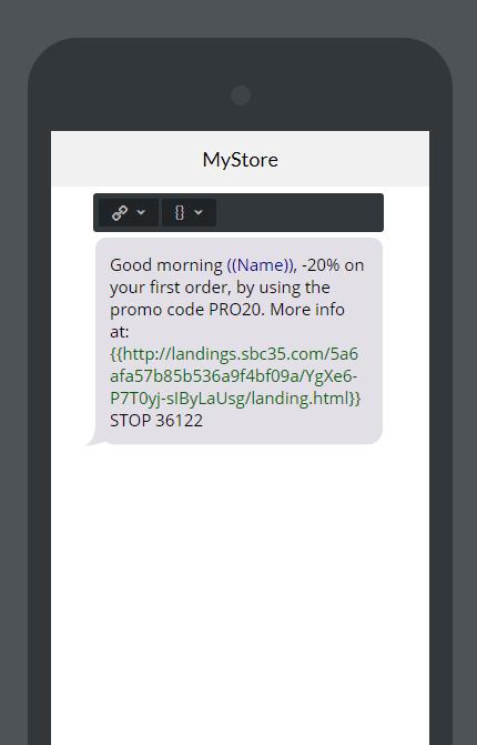 SMS marketing landing page