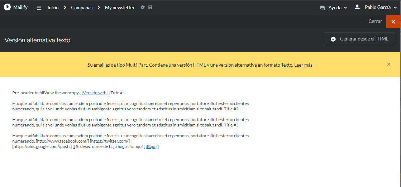 version alternative texte email