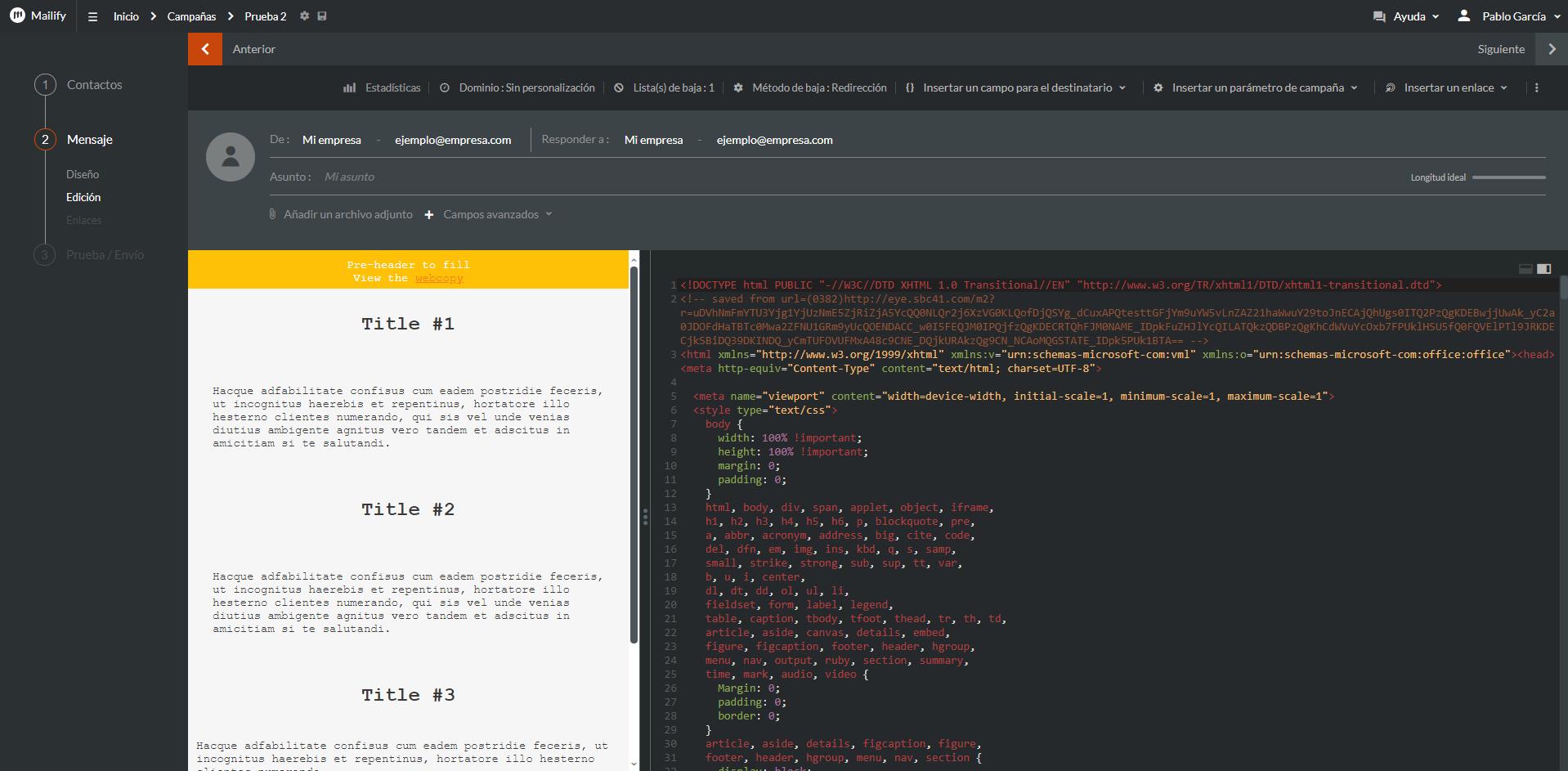 emailing html séparation
