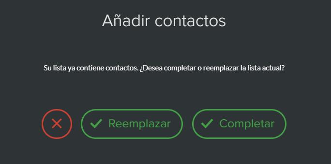 Completar o reemplazar una lista de contactos