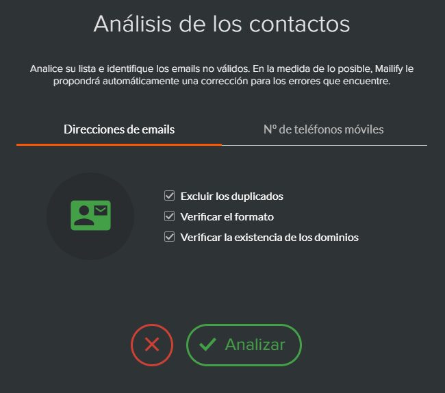 Análisis y corrección de los emails