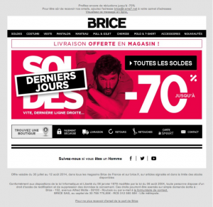 campagne emailing brice soldes