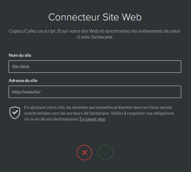 Parametres connecteur site web
