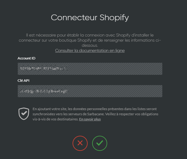 Paramétrage connecteur Shopify