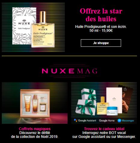 Newsletter Noël Nuxe