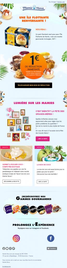exemple newsletter Mamie Nova