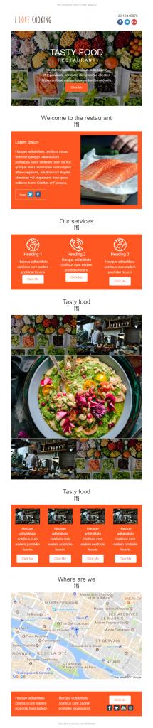 Modèle d'envoi par courrier électronique I Love Cooking Sarbacane