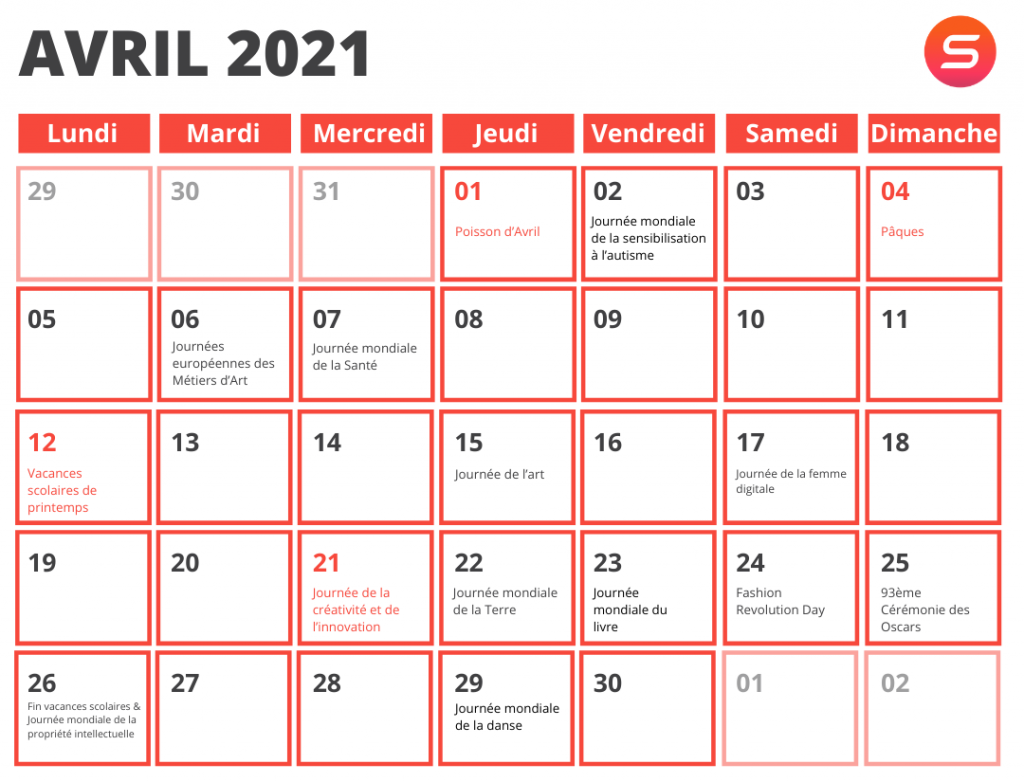 calendrier marketing avril 2021