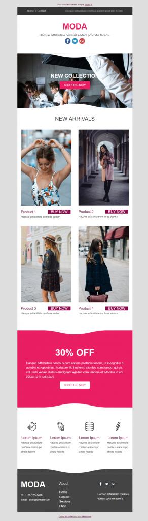template emailing moda sarbacane